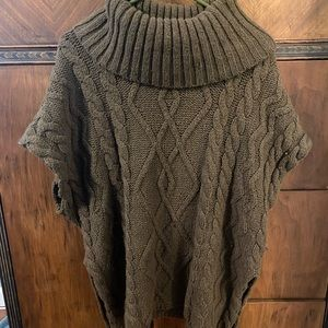Olive green Cowl Neck Poncho